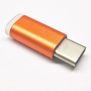 USB Typ C Adapter von MicroUSB, Aluminium, orange